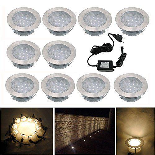10x Lampe De Spot Encastrable Led Pour Terrasse Enterre Plafonnier Dc12v Ip67 Etanche O60mm Acier Inoxydable Exte Spot Encastrable Eclairage Encastre Luminaire