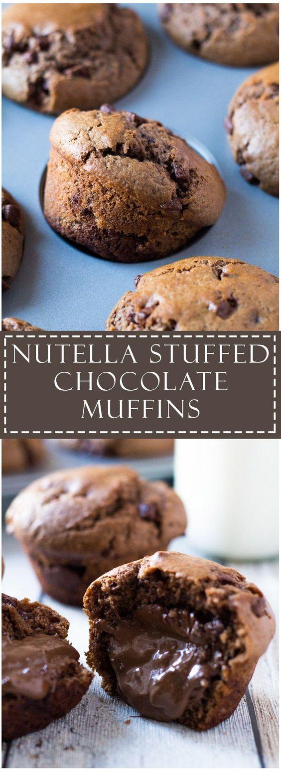 Nutella Stuffed Double Chocolate Muffins | Marsha's Baking Addiction