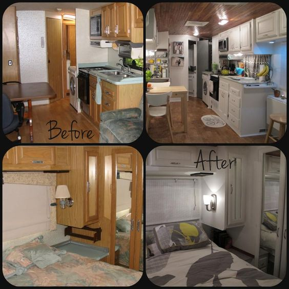 Campers ceilings and white cabinets on pinterest for Camper kitchen cabinets