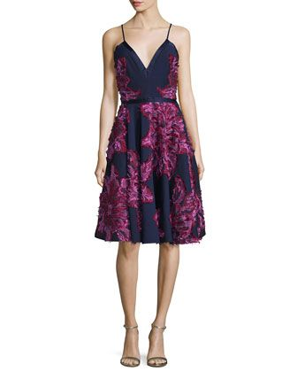 Sleeveless+Chiffon+Dress+W/Embellished+Flowers,+Navy+Multi++by+Badgley+Mischka+at+Neiman+Marcus.