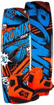 """Ronix Vision Wakeboard with Vision Boots - Wide tip/tail - easy starts, rides higher at slow speeds. - Mellow round radius fading bevel - sets a predictable smooth transitioned edge with little effort, doesn't require a steep edge angle to get speed - 4 Asymmetric molded outer fins – needed additional grip on your toeside as a rider's body is crossed up from the boat - 2 detachable fiberglass 1.75"""" hook fins provide all the grip and stability needed in choppier water conditions"""