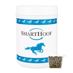 SmartHoof Pellets contains 20 mg of Biotin along with Methionine, Lysine, Threonine, Copper, Zinc, Collagen and other ingredients vital to strong, resilient hooves.