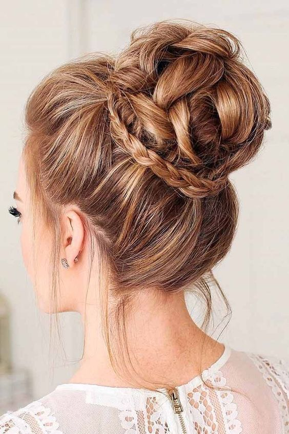 100 Elegant Wedding Ideas To Wow Your Guests High Bun Updo Wedding Hairstyles With Braid Hair Styles Bun Hairstyles Braided Hairstyles Updo