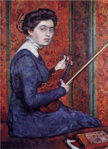 Woman with Violin (Portrait of Rene Druet) - Theo van Rysselberghe Date: 1910