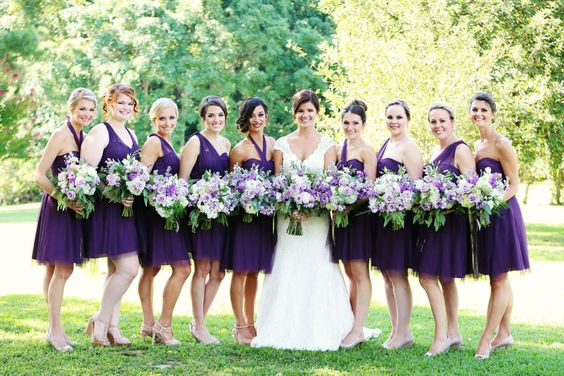 Beautiful bride Megan Koptish with her pretty maids in Raisin colored dresses by Jenny Yoo @jennyyoo #jennyyoo #bridesmaids #augustajones