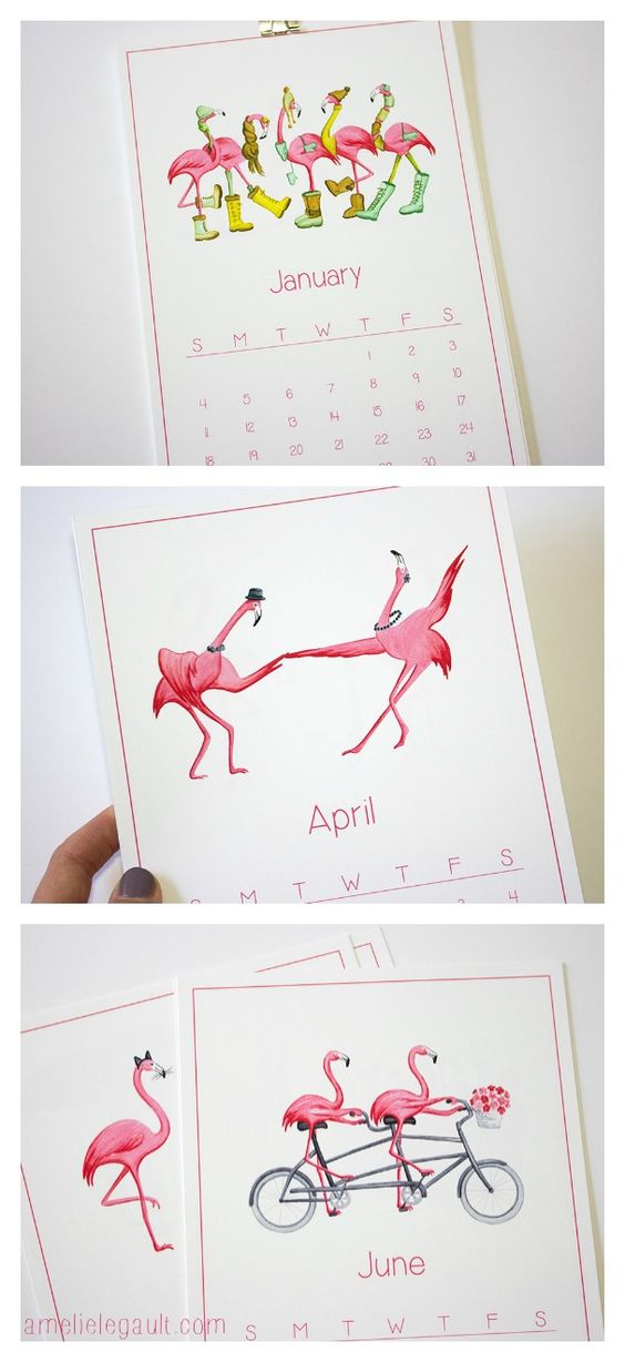 2015 Pink Flamingo Calendar by Amelie Legault, $25.00 Available on Etsy  Click here to buy your flamingo calendar: https://www.etsy.com/ca/listing/168903228/pink-flamingo-2015-calendar-in-english?ref=shop_home_active_10  #2015calendar #pinkflamingo #amelielegault