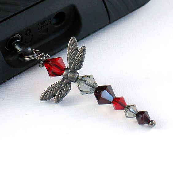 Red Dragonfly Charm  Phone Bling Gunmetal Finish Ruby by Buntique