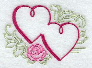 Two Hearts As One design (G2713) from www.Emblibrary.com