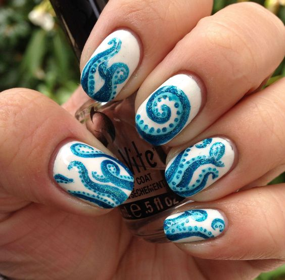 Octopus nails - Correction Tape by Spoiled, Haley's Comet by Orly FX, and Pastel Teal by Klean Color.