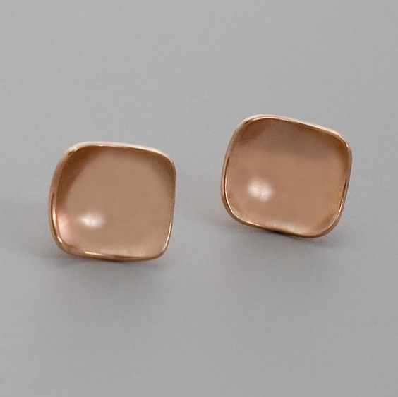 Rose Gold Square Studs  Handmade 18K Rose Gold by toolisjewelry, $55.00. Sleek and pretty!