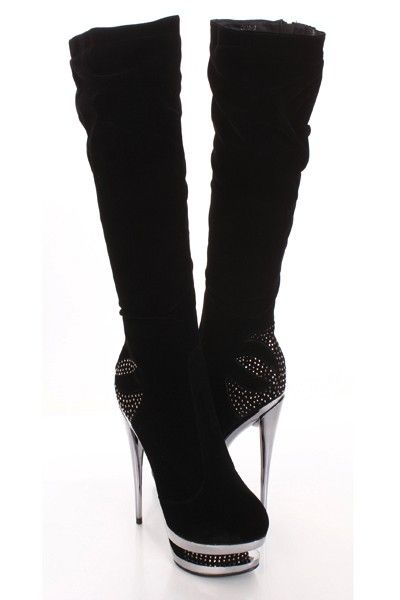 Add glamour and sparkle to any outfit with these sexy platform boots! They are perfect for dancing the night away or just a day out with the girls. They will look super hot paired with your favorite skinnies or dress. Make sure you add these to your closet, it definitely is a must have! The features include a velvet upper with rhinestone detailing, stitched apron front, round closed toe, side zipper closure, mirrored heel and carved platform, smooth lining, and cushioned footbed…