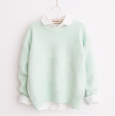 Japanese kawaii candy color sweater pastel green