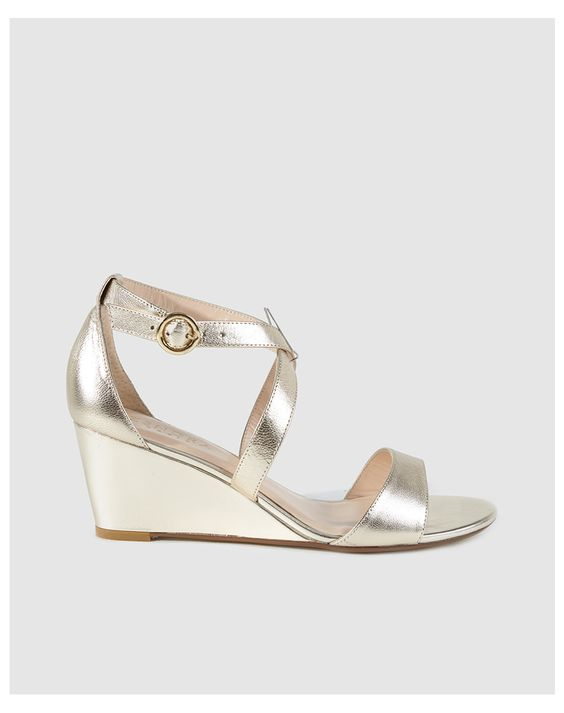 Zendra Basic women's gold leather wedge sandals at El Corte Inglés