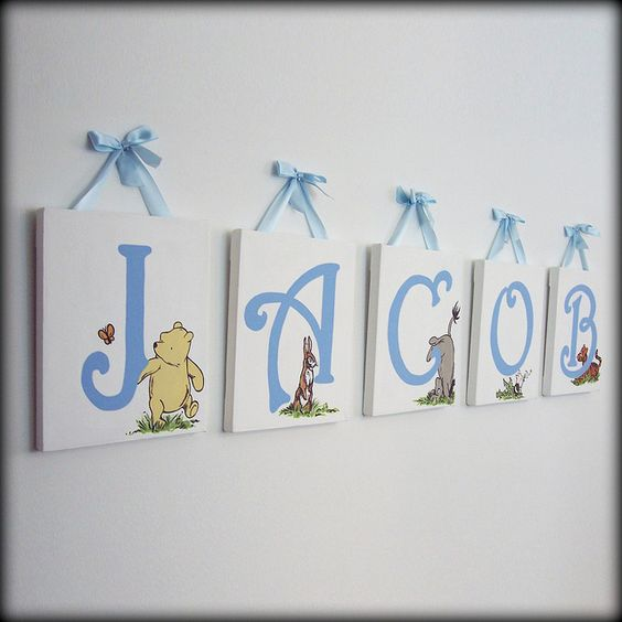 Classic winnie the pooh name wall art by little lamb for Classic pooh wall mural
