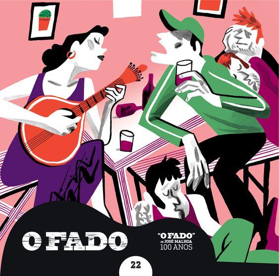 """#OFado - CD22 - Ilustrador: #JoãoFazenda / Texto: #RuiMárioGonçalves """" (...) Os dois quadros de Malhoa mostram aspectos da marginalidade social. ... < O Fado >, ao contrário de < Os Bêbados >, faz referência ao erotismo. Talvez por isso, ..., o protesto de um < Grupo de Artistas > anónimos contra a aquisição destes dois quadros, feita pela Câmara Municipal. (...)"""" R.M.G."""