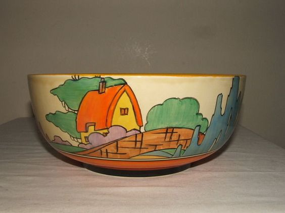 Clarice Cliff ART Deco Fantasque Orange Roof Cottage Fruit Bowl sold for £350 in February 2016