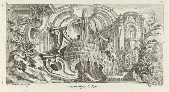 Juste Aurèle Meissonnier   Fontein met riviergod., Juste Aurèle Meissonnier, Laureolli, Gabriel Huquier, 1733   Fontein met riviergod. Op de achtergrond een kasteel; links een rots met boom, rechts een palm. (Fuhring 25)
