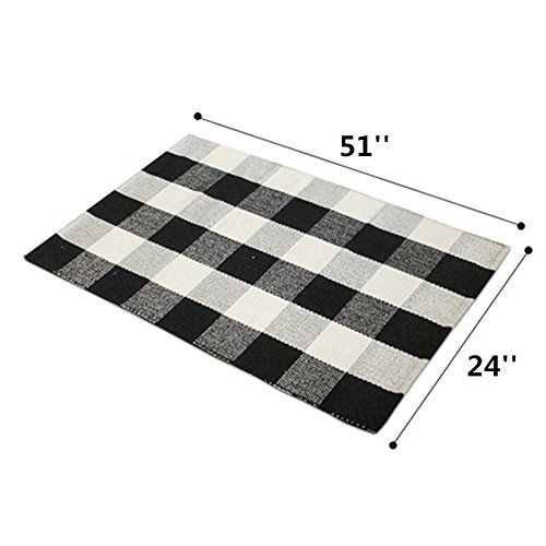 Amazon Com Ukeler Black And White Plaid Rugs Cotton Hand Woven