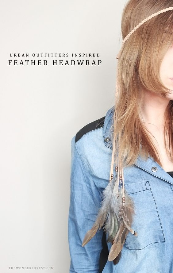 Urban Outfitters Inspired DIY Feather Suede Headwrap - - Wonder Forest -