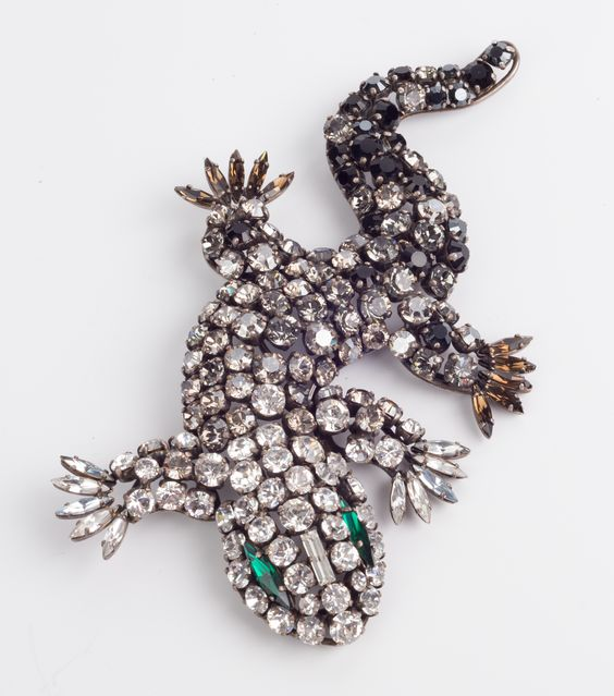 """Ferrandis Brooch Paris, 1990 Salamander Brooch purchased from a collector whose experience in vintage bijoux jewellery has spanned thirty years. His vast amount of knockledge gained during this period, the collectors has since published a special book about the history of Costume Jewellery titled """"Les Paruriers Bijoux de la Haute Couture"""""""