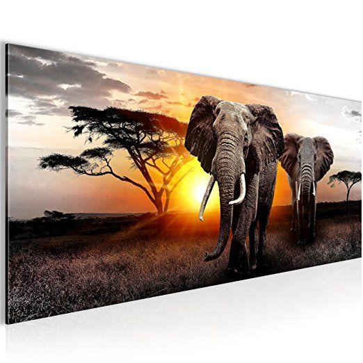 Kunstdruck Leinwand aus Vlies Bild Bilder Wandbild XXL Afrika Sonnenuntergang