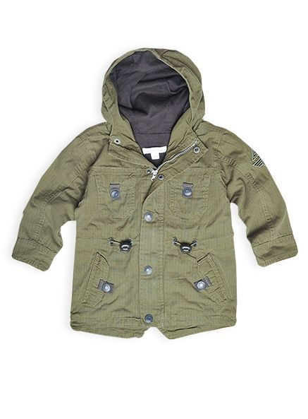 Pumpkin Patch - jackets - military hooded anorak - W4TB40003 - army green - 12-18m to 5