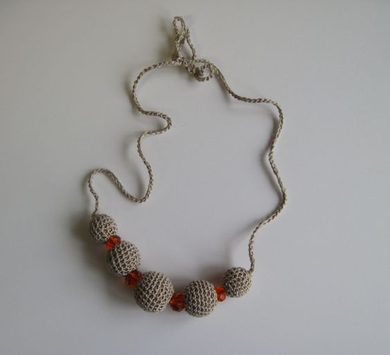 Crochet Covered Bead Necklace - Linen Taupe and Orange, via Etsy