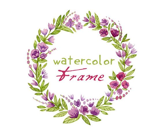 Violet, Purple Digital Wreath Digital Clipart Watercolor by SwiejkoForPrint, $4.00