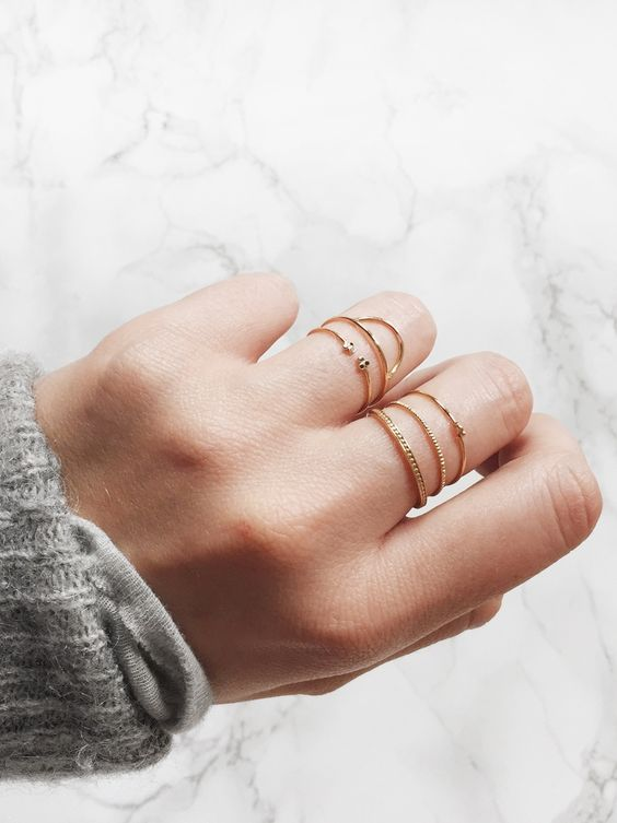 These layered dainty rings are the cutest