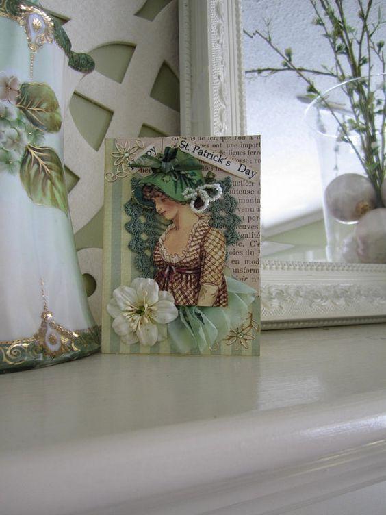 St Patrick's Day Card  Green Irish Card  Vintage by AvantCarde, $7.00