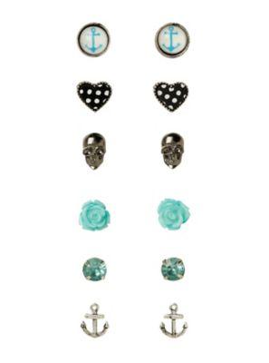 LOVEsick Skull Anchor Heart Rose Earrings 6 Pair