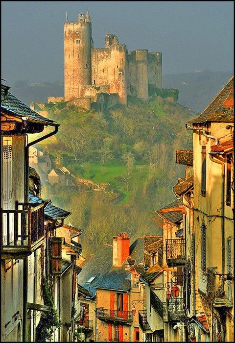 Castle on the hill, Najac, France.