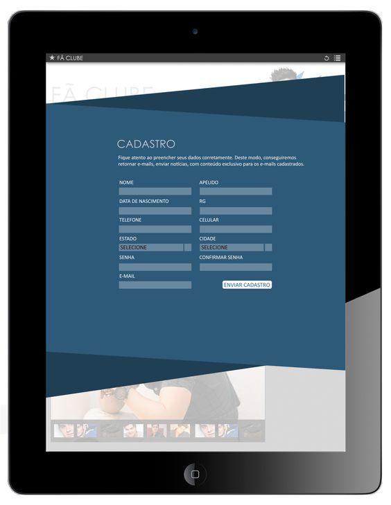 Fã Clube - Cadastro - Formato Ipad