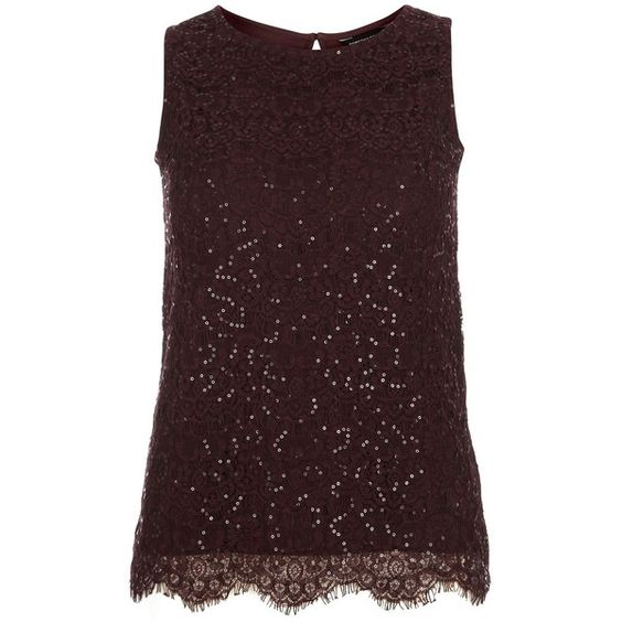 Dorothy Perkins Eyelash Lace Sequin Shell Top ($25) ❤ liked on Polyvore featuring tops, brown, women, sleeveless tank, sequin tank top, red lace tank, brown tank and sleeveless tops