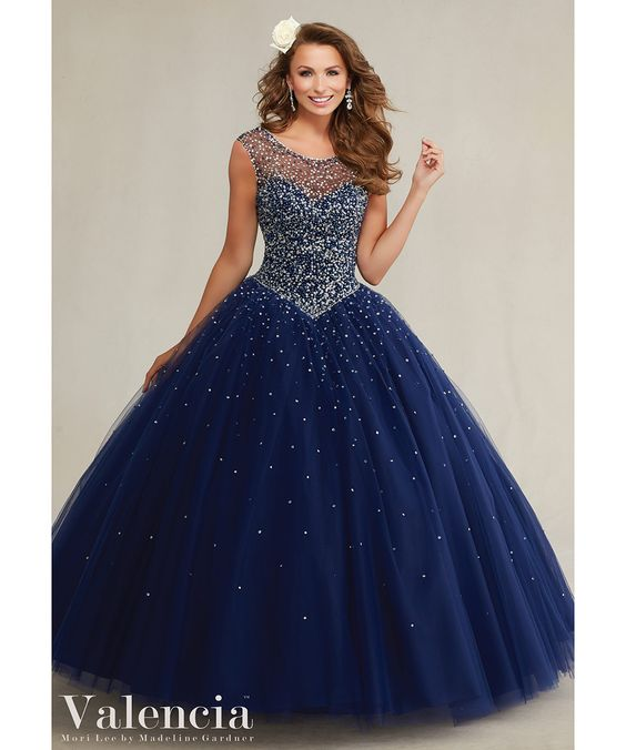 Navy Blue Quinceanera Dresses 2016 Illusion Neckline Beaded Pearls Tulle Ball Gown Sweet 16 Dresses Sexy vestidos de 15 anos#89081