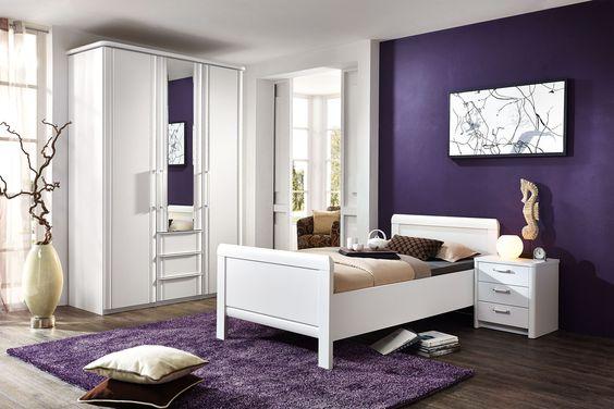 Schlafzimmer SAPHIR in Weiß Matt: Drehtürenschrank: 3-türig, ca. 150 x 222 x 62 cm, mit Spiegelfront und 3 Schubkästen, Einzelbett: ca. 100 x 200 cm, Nachtschrank: 49 x 54 x 43 cm