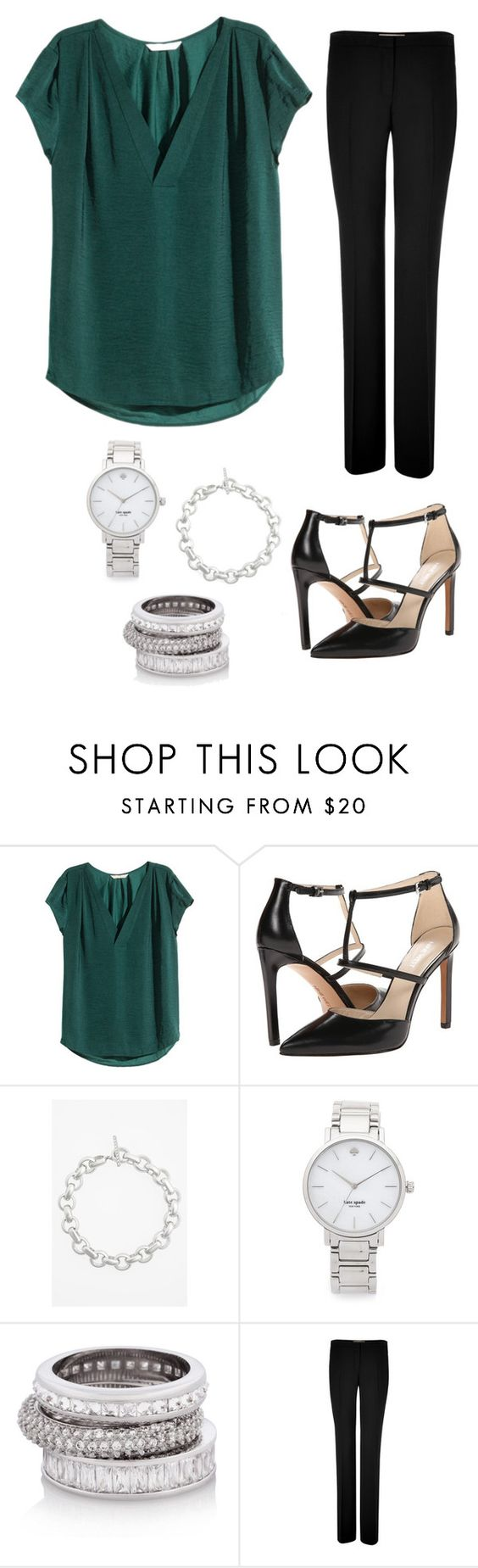 """""""Green top - Work"""" by brittjade ❤ liked on Polyvore featuring мода, H&M, Nine West, Judith Jack, Kate Spade, Henri Bendel и Michael Kors"""