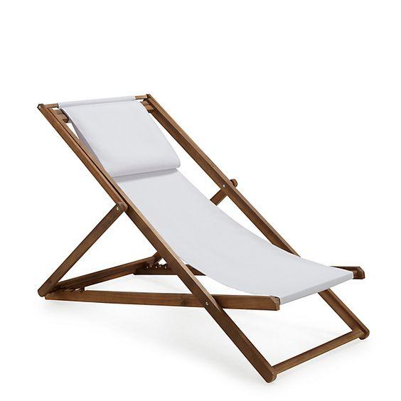 Derek Chilienne / Chaise longue de jardin en acacia