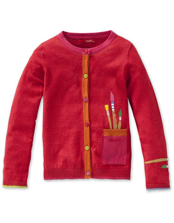 #Oilily Kelia Red Paint Bruches Knt Cardigan  at #ollyseven.com