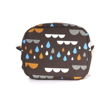 Dark Chocolate Raindrop and Clouds Makeup Zipper Pouch // Toiletry Bag