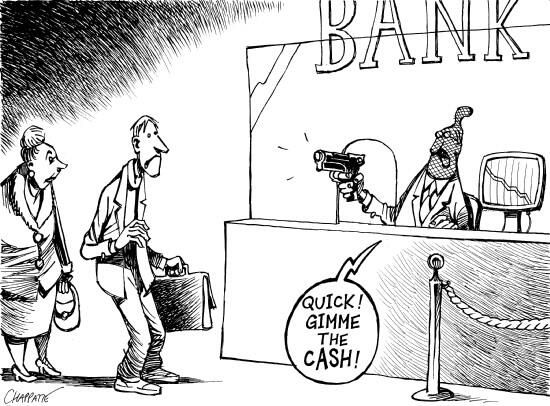 Image result for banks loot bank new rules cartoon
