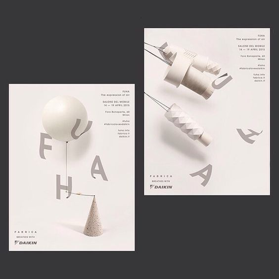 Tomomi Maezawa is a Japanese graphic designer who was tasked with designing the identity for FUHA, an exhibition of ten different air-inspired installations that coincided with Salone del Mobile a few months ago. Her answer to the brief was a light and airy typeface that incorporated the subtle movements of paper blown by breath. #itsnicethat #graphicdesign #typeography