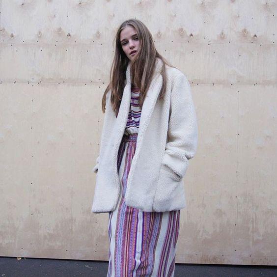 A total look Mes Demoiselles... Paris shot by the concept-store Parisienne shop. Our Prosper coat and our Fergie Dress are available on our eshop and our stores. #mesdemoiselles #FW16 #collection #coat #coldday #dress #print #stripes #silk #mesdemoisellesparis