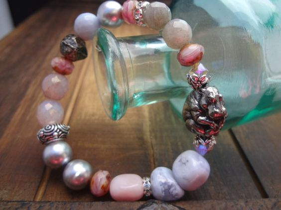 Green Girl Studio Hippo Bracelet Pink Opal by FeminineGenius