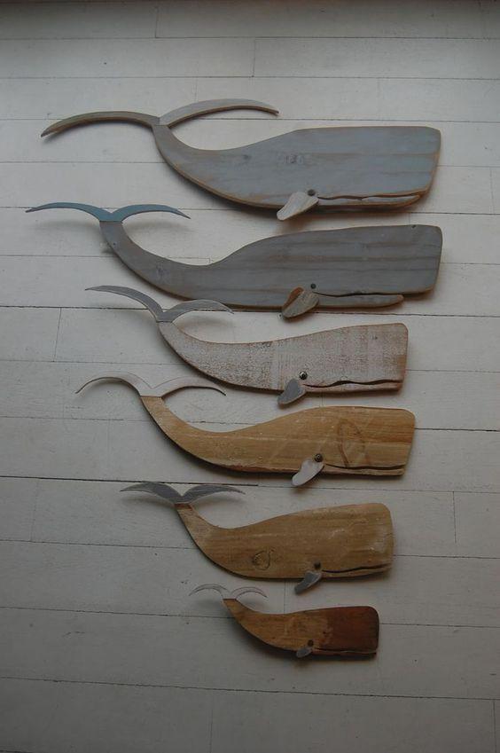 Miroir Bois Flotte Casa : Wooden Whale Wall Art