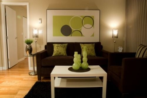 Dark brown and lime green living room wall ideas brown for Brown green and cream living room ideas