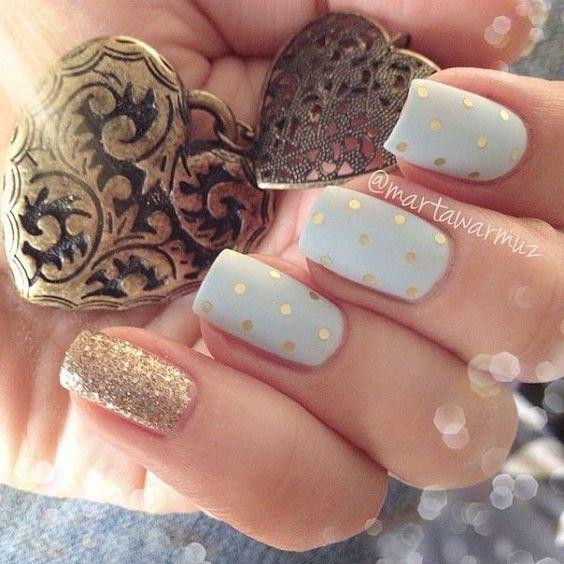 Uñas elegantes dorado y blanco - Golden and white elegant nails ...
