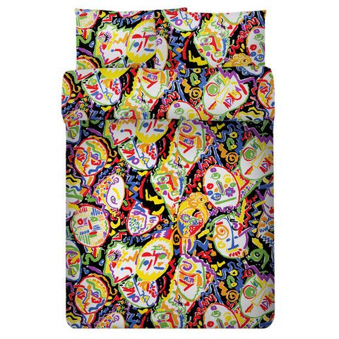 """SAFE HOUSE USA - """"Faces"""" Print Duvet Set by Richard Giglio"""