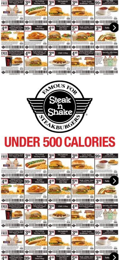 Find out how many calories are in Steak 'n' Shake. CalorieKing provides nutritional food information for calorie counters and people trying to lose weight. apps Tools & More help Support. Food search. Search. Kids Menu. Kid's, Chicken Fingers & Fries Plate; Kid's, Chocolate Chip Pancakes;.