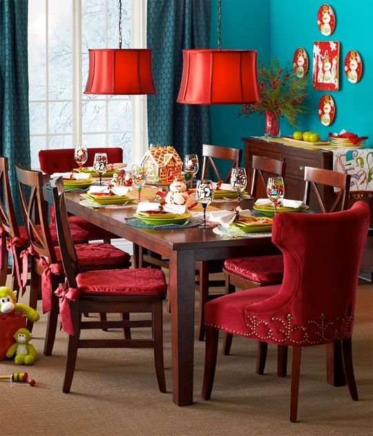 red teal dining room